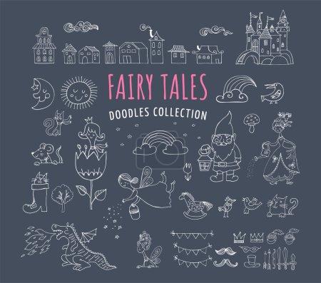 Photo pour Collection de contes de fées griffes dessinées à la main, illustrations - image libre de droit