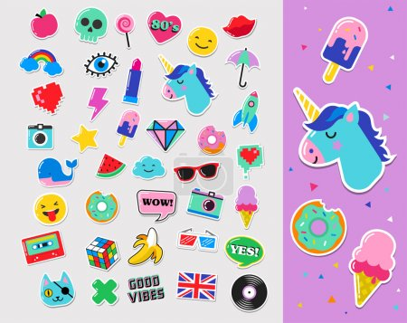 Pop art fashion chic patches, pins, badges and stickers