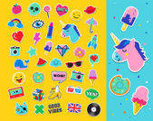 Pop art fashion chic patches pins badges and stickers