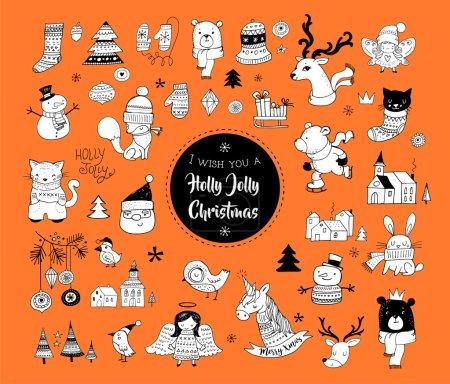 Photo pour Dessinés à la main de Noël mignons gribouillis, autocollants, illustrations et éléments - image libre de droit