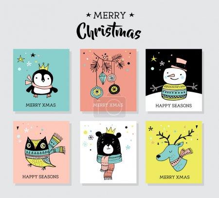 Photo pour Dessinés à la main de Noël mignons gribouillis, illustrations et cartes de voeux avec pingouin, ours, cerf - image libre de droit