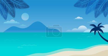 Illustration pour Design de concept amusant de l'heure d'été. Fond créatif de paysage, panorama ensoleillé de la mer et de la plage. Vente d'été, modèle de poste. Illustration vectorielle - image libre de droit
