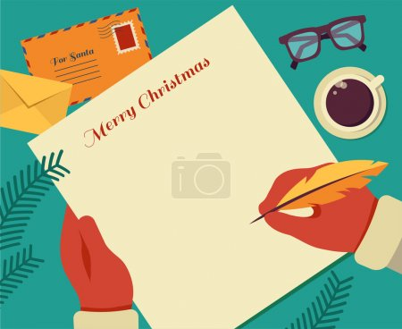 Christmas Santas desktop flat vector design with elements