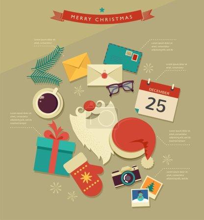 Christmas Santas desktop flat icons design, vector infographic