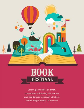 Open Book with set of vector fairy tale elements, ...
