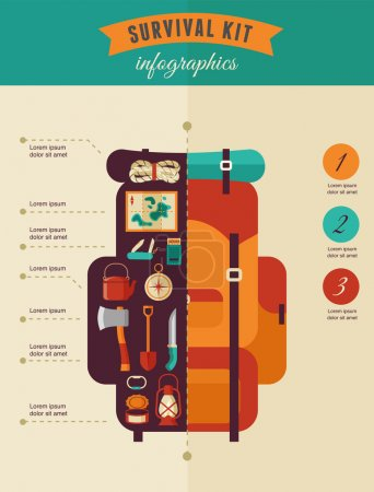 Illustration for Hiking and camping concept, survival kit infographics - vector icon set - Royalty Free Image
