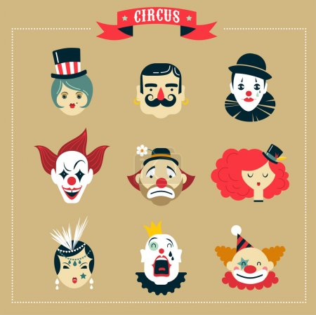 Illustration for Vintage Hipster Circus, freak show icons and characters - Royalty Free Image