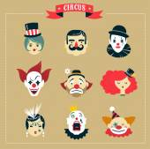 Vintage Circus freak show icons and hipster characters