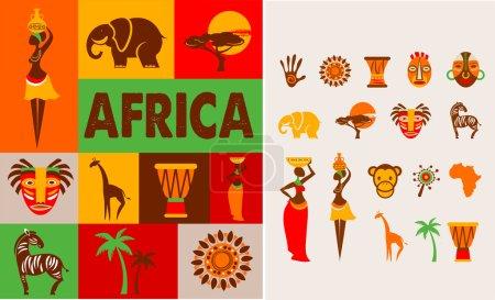 Illustration pour Afrique - affiche et fond avec un ensemble d'illustrations - image libre de droit
