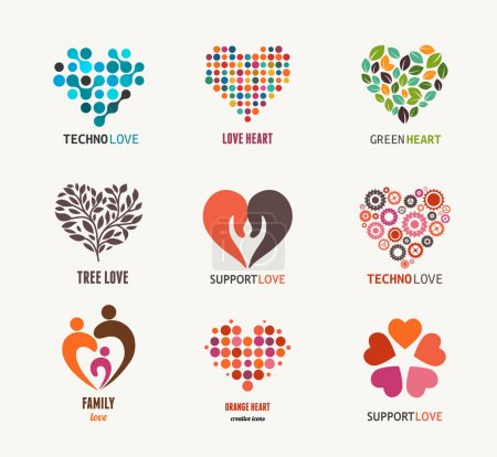 Illustration for Set of vector heart icons, elements and symbols - Royalty Free Image