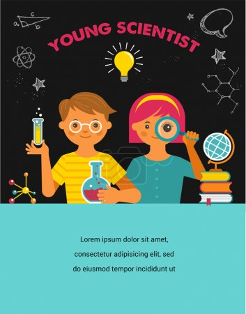 Illustration for Young scientist. Research, Bio Technology, Chemical laboratory and education illustration - Royalty Free Image