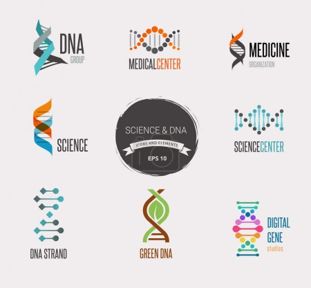 Illustration for DNA, genetic sign, elements and icons collection - Royalty Free Image
