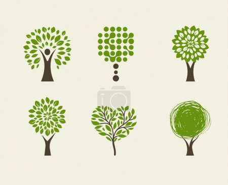 Illustration for Collection of green tree logos and icons, ecology, environment, gardening, education and health care concept - Royalty Free Image
