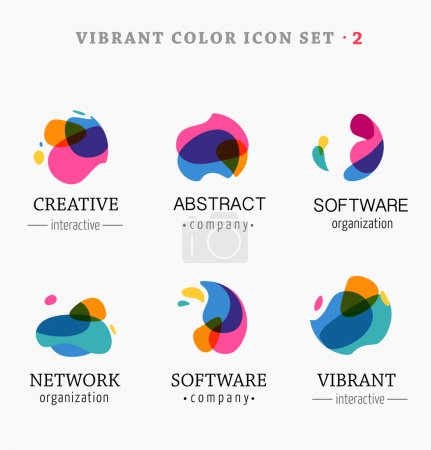 Illustration for Set of trendy abstract, vibrant and colorful icons, elements - Royalty Free Image