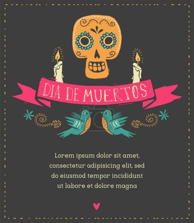 Print - mexican sugar skull, day of the dead poste...