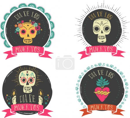 print - mexican skull set, day of the dead