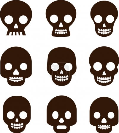 Illustration for Black skull set, Mexican day of the dead - Royalty Free Image