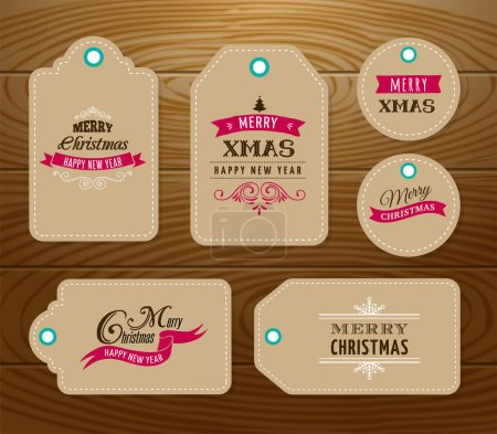 Illustration for Christmas Sale, Gift Tags and labels  with lettering, typography - Royalty Free Image
