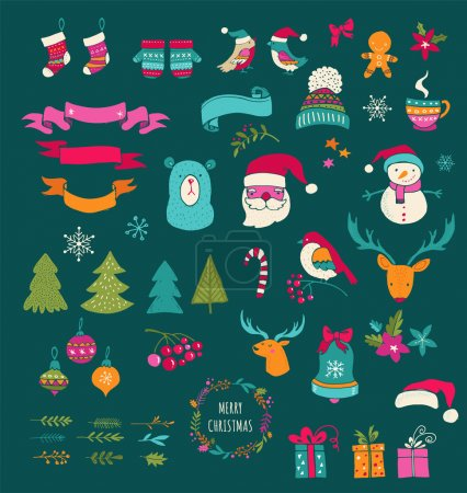 Christmas Design Elements - Doodle Xmas symbols, icons