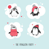 Cute hand drawn penguins set - Merry Christmas greetings