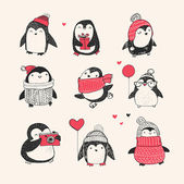 Cute hand drawn vector penguins set - Merry Christmas greetings