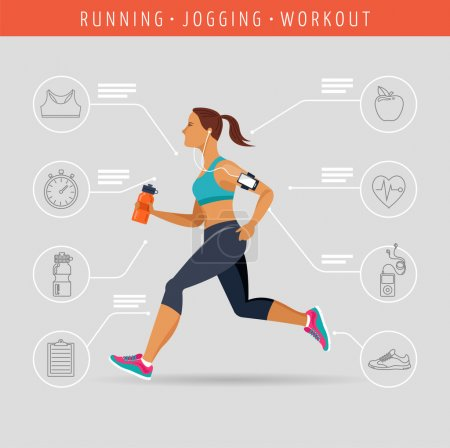 woman running, jogging - infographic