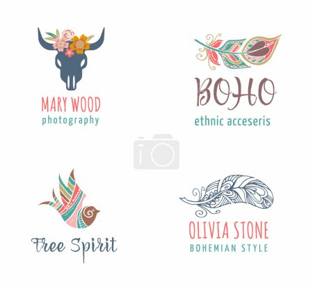 Bohemian, tribal, ethnic icon set with feather and bird