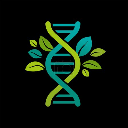 Illustration for Vector illustration of DNA, genetic icon - tree, plant with leaves - Royalty Free Image