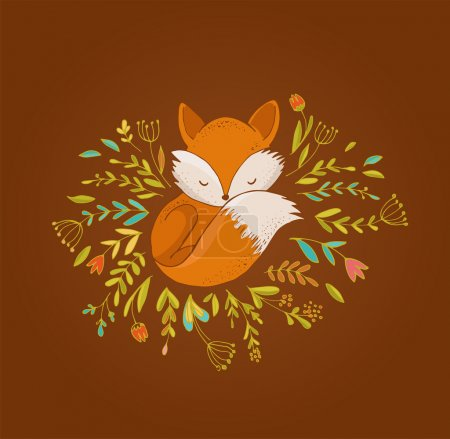 Fox, cute, lovely illustration and greetin card