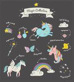 Magic hand drawn set - unicorn rainbow and fairy wings