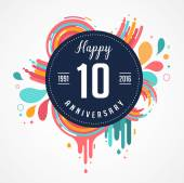 Anniversary - abstract background with icons color splashes and elements