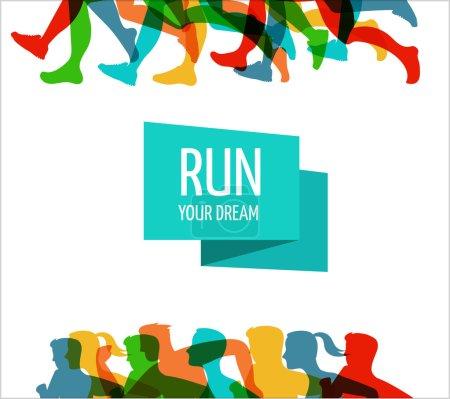 Illustration pour Marathon de course, les gens courent, affiche colorée et fond - image libre de droit