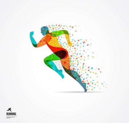 Illustration pour Homme qui court, affiche colorée sportive, icône avec éclaboussures, formes et symboles - image libre de droit