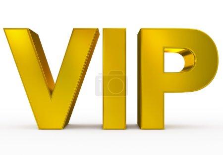 Photo pour VIP golden - 3d letters isolated on white, front view - image libre de droit