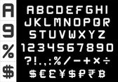 Alphabet numbers currency and symbols pack - rectangular basic font