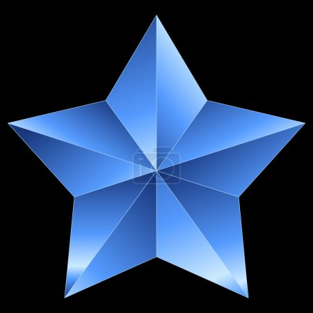 Christmas Star blue metal isolated on black