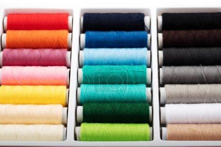 Colorful bobbins thread in plastic box