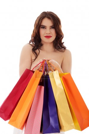 Photo for Beautiful woman with a shopping bags. - Royalty Free Image