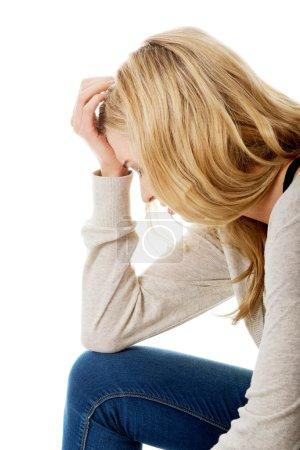 Sad and depressed woman.