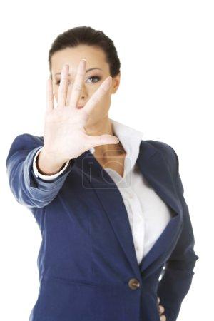 Foto de Mujer de negocios muestran NO gesto con expresión de confianza . - Imagen libre de derechos