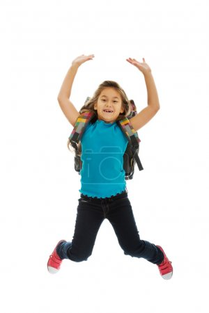 Photo for Schoolgirl with bag jumping high - Royalty Free Image