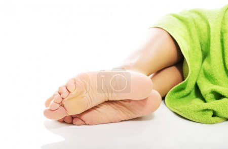 Photo for Close up on female bare feet. - Royalty Free Image