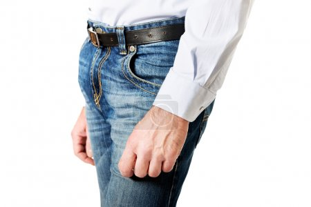 Side view of a men in jeans trousers
