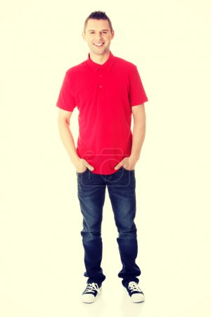 Handsome man in red shirt