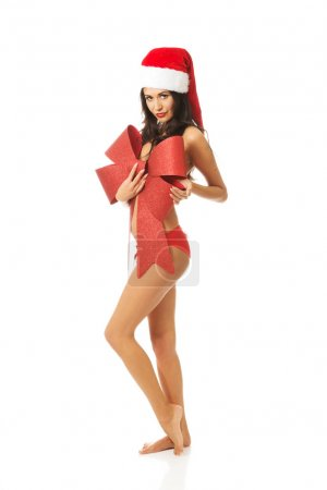 Santa woman covering her body by ribbon