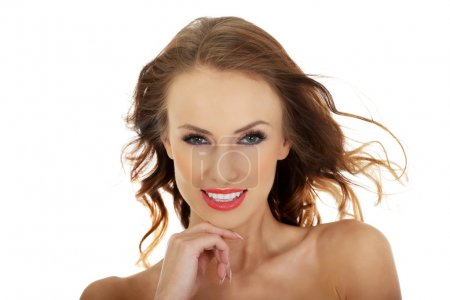 Photo for Young woman with make up and hair flying. - Royalty Free Image