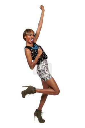 Photo pour Belle femme excitée célébrant une victoire ou quelque chose de bon - image libre de droit
