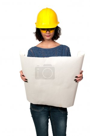 Photo for Female Construction Worker on a job site - Royalty Free Image