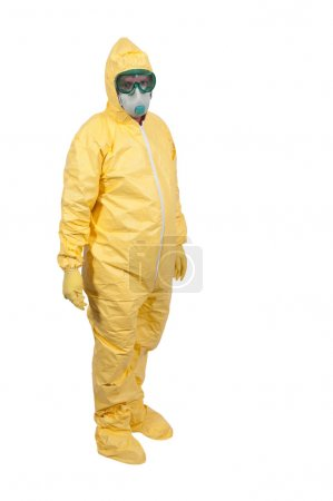 Photo for Man wearing a hazmat suit in the face of infectious disease - Royalty Free Image