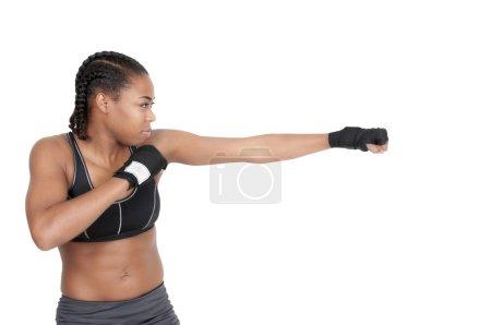 Beautiful young woman Boxing